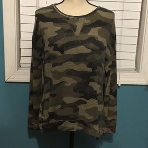 Rewind Camouflage Long Sleeve Top Size Large